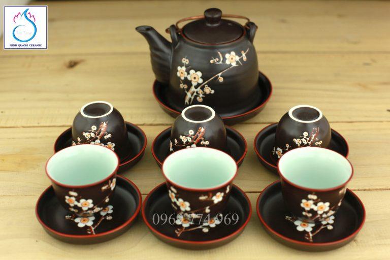 Bộ trà dáng giả Vuốt men nâu khắc hoa đào