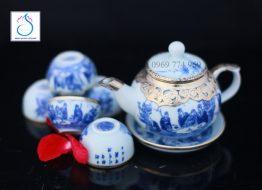 Bộ trà dáng quả Hồng bọc đồng vẽ Trúc lâm thất hiền khay tròn