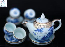 Bộ trà dáng quả Hồng bọc đồng vẽ Lã Vọng câu cá