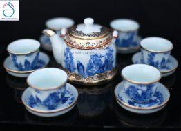 Bộ trà giả vuốt bọc đồng vẽ Trúc Lâm Thất Hiền