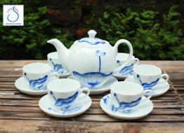 Bộ trà Minh Long vẽ hoa sen xanh