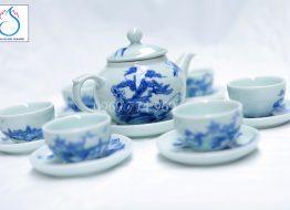 Bộ trà dáng quả Hồng vẽ Lã Vọng câu cá