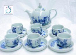 Bộ trà dáng quả Bưởi vẽ Trúc Lâm Thất Hiền