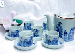 Bộ tích trà vẽ Trúc Lâm Thất Hiền