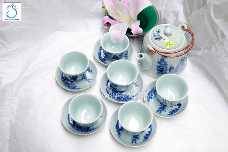 Bộ trà dáng giả vuốt vẽ Trúc Lâm Thất Hiền