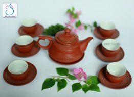 Bộ trà gốm Chuông ganh đỏ