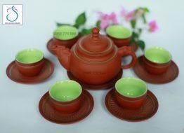 Bộ trà gốm Hóa Long ganh đỏ lòng xanh
