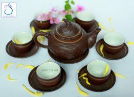 Bộ trà gốm khắc Trúc nâu lòng trắng