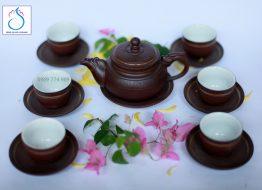 Bộ trà gốm hỏa long ganh nâu lòng trắng