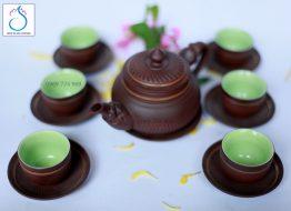 Bộ trà gốm hỏa long ganh nâu lòng xanh