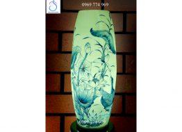 Đèn sứ thấu quang vẽ Hoa Sen xanh