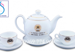 Bộ bình trà M7 cao cấp Bát Tràng in logo