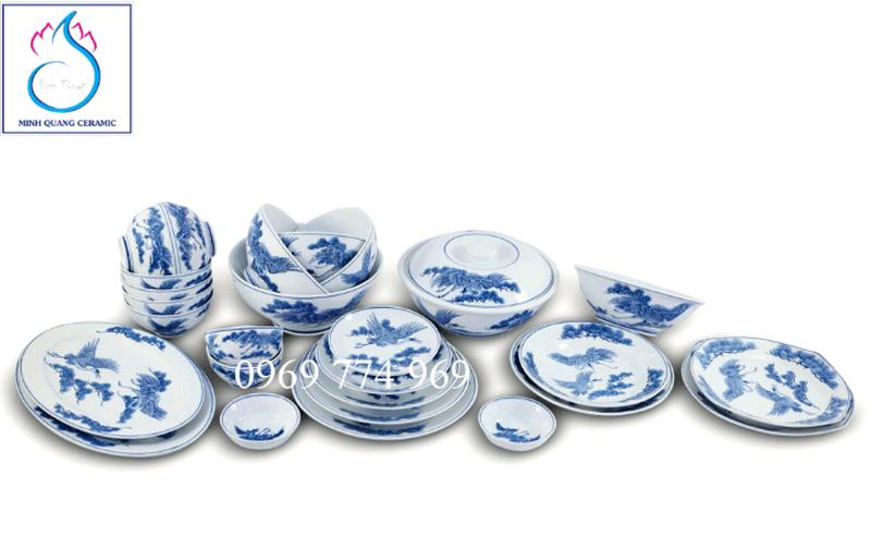 Bộ đồ ăn vẽ uyên ương men Lam
