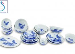 Bộ đồ ăn vẽ sơn thủy cổ men Lam