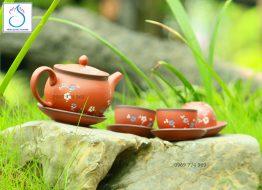 Bộ trà gốm tử sa đỏ hoa dây