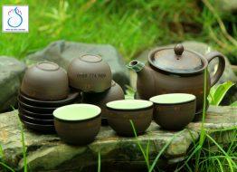 Bộ trà gốm tử sa khắc sao vàng