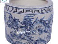 Bát hương rồng xanh men rạn cổ đường kính 40cm