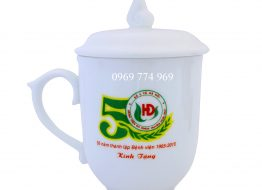 Ly sứ trắng M1 in logo 350ml