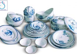 Bộ đồ ăn vẽ Sơn Thủy giản thể men Lam