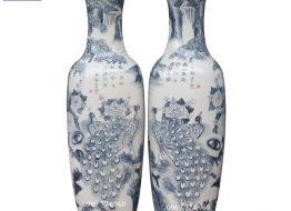 Lọ Lộc Bình men bóng vẽ Chim Công khoe sắc bốn mùa màu tràm