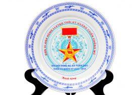 Đĩa sứ Bát Tràng in logo