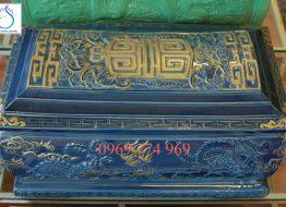 Quách tiểu men Lam nhũ vàng đắp nổi Tứ Linh