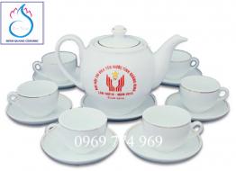 Bộ bình trà M13 Bát Tràng in logo