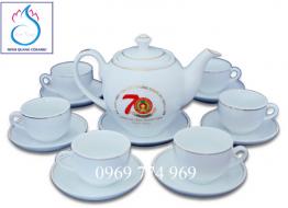 Bộ bình trà M14 Bát Tràng in logo