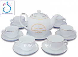 Bộ bình trà M15 Bát Tràng in logo
