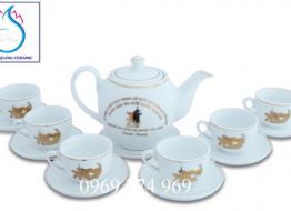 Bộ bình trà M12 cao cấp Bát Tràng in logo