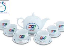 Bộ bình trà M16 Bát Tràng in logo