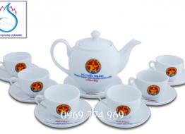 Bộ bình trà M17 Bát Tràng in logo