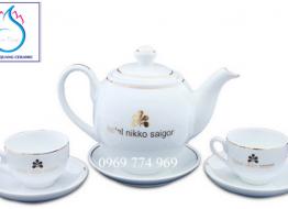 Bộ bình trà M10 cao cấp Bát Tràng in logo
