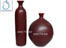 Bộ nghệ thuật Âm Dương giao hòa vẽ hoa móc đỏ