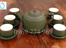 Bộ trà gốm tử sa dáng tích xanh rêu