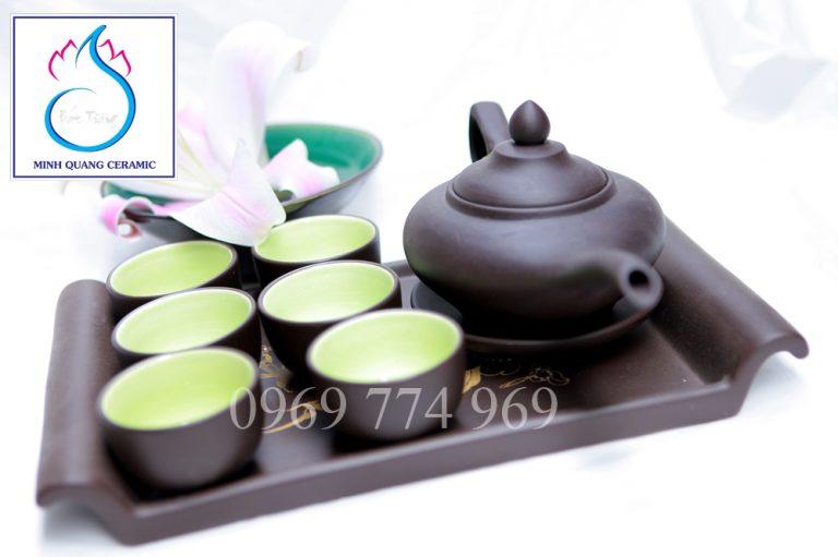 Bộ trà gốm đen dáng đèn thần Aladin