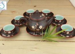 Bộ trà tách lõm men nâu khắc hoa Đào