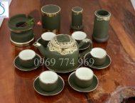 Bộ trà gốm tử sa tích xanh rêu bọc đồng Nga