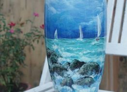 Bom sơn mài 3D vẽ cảnh biển buổi sớm