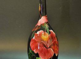 Bình vẽ hoa dâm bụt 3D