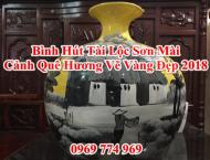 Bình Hút Tài Lộc Sơn Mài cảnh Quê Hương Vẽ Vàng Đẹp 2018